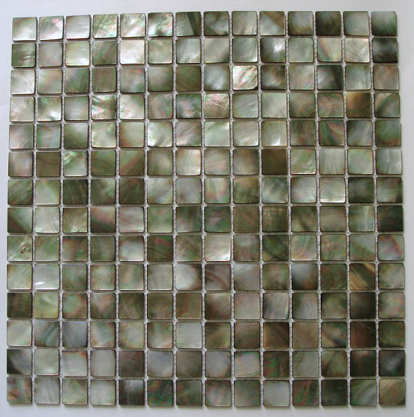 "Black Mother of Pearl Natural Shell Mosaic Sheet 20mm - 3/4"", 1 tile"